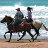 Horseback riding along the beach